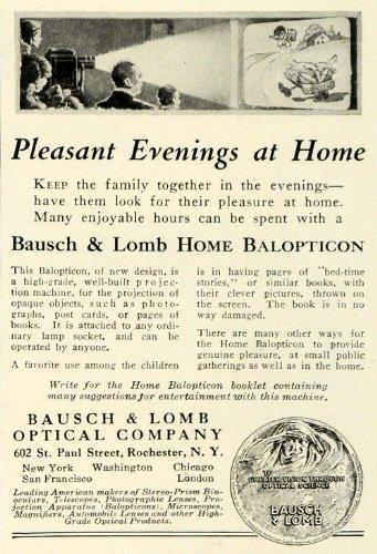 22ed6fb742 Galleon - 1923 Ad Bausch Lomb Optical Home Balopticon Movie Film Screen  Projector Machine - Original Print Ad