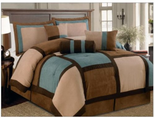 Legacy Decor 7 Piece Aqua Brown Beige Micro Suede Patchwork Comforter Set Machine Washable, Bed-in-a Bag- Queen Size ()
