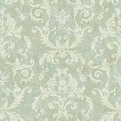 Np6345 Pale Mint Green Guilded Damask Wallpaper Amazon Com