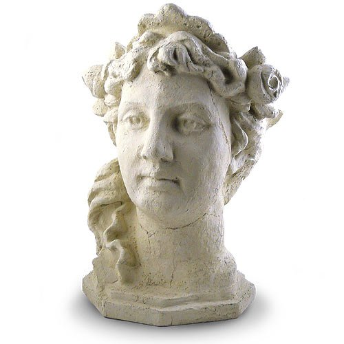 Modern Artisans Garden Goddess Outdoor Head Planter, 17-Inch Fine Cast Concrete, American Made