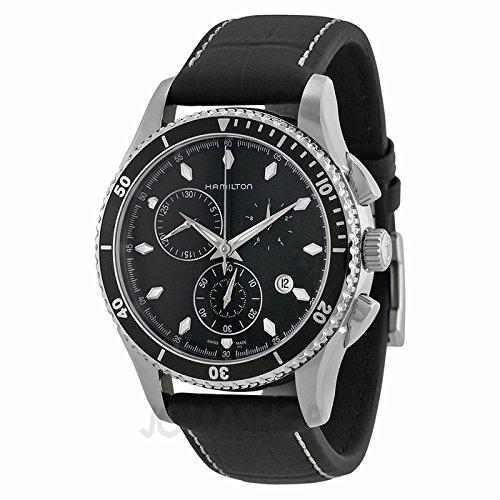 Hamilton Hamilton Jazzmaster Con vistas al mar Cronógrafo Negro Dial Negro Cuero Mens Reloj H37512731