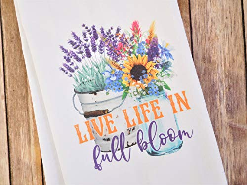 (Kitchen Dish Towel - Easter Decoration - Live Life in Full Bloom - Farmhouse Style)