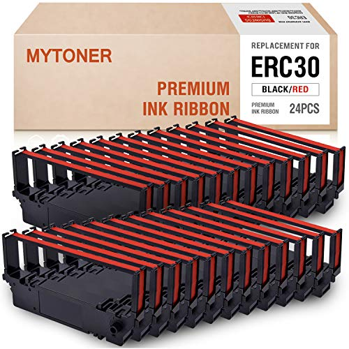 MYTONER ERC30 ERC-30 ERC 30/34/38 B/R Black/red Compatible with Ink Ribbon Cartridge for use in Epson ERC38 NK506 (24-Pack)