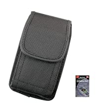 Canvas Vertical Heavy Duty Case with Metal Clip and Velcro Closure Big Enough to Fit the Otterbox Defender Case for Samsung Galaxy S3, SIII Phones. Comes with Antenna booster.
