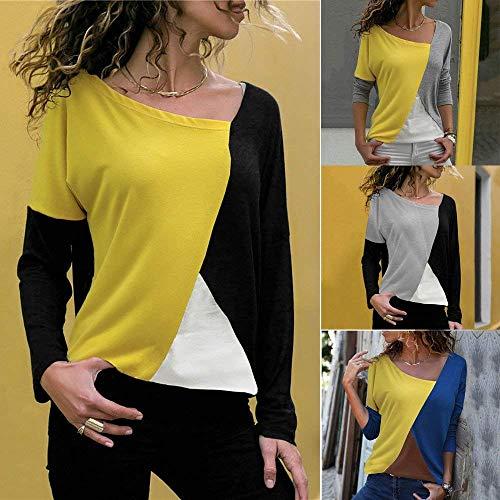 couleur longues Zhrui Taille à Blocks Pour T Patchwork Grand Jaune Color shirt Blouse Femmes manches Jaune Très tqBrPgq