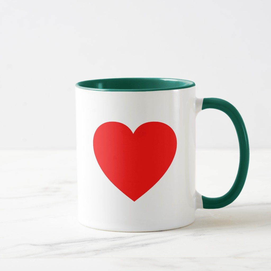 Zazzle Plainレッドハートコーヒーマグ 11 oz, Combo Mug グリーン 12522f20-0404-6625-10b5-8e0578a52c24 B078VX8SLN  ハンターグリーン 11 oz, Combo Mug