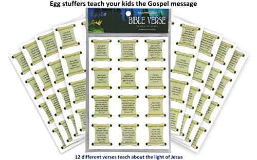 Egglo Bible Verse Stickers (96 pack) - Hands-on Kid's Fun for Christian/ Religious Holidays, Sunday School Prizes or Favors