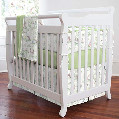 Carousel Designs Nursery Rhyme Toile Sage Mini Crib Bumper