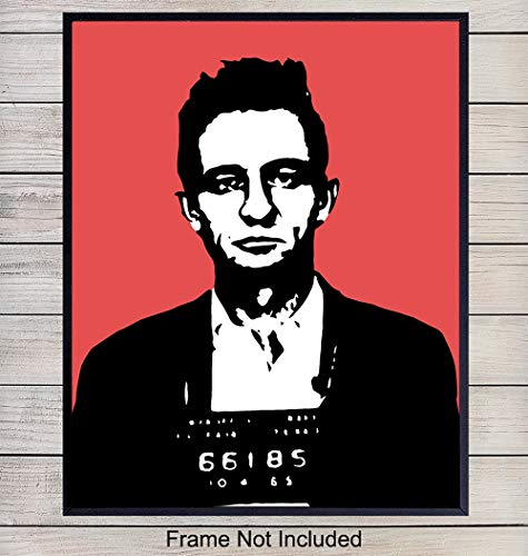 Johnny Cash Pop Art Mugshot Wall Art - Contemporary Modern Art Print for Home, Office or Apartment Decor - Great Gift for Nashville, Country Music Fans - 8x10 Photo, Poster