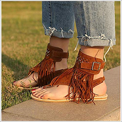 Women's Shoes Suede Summer Comfort/Slingback Sandals Flat Heel Open Toe Beading/Buckle/Tassel Black/Beige/Brown,US5/EU35/UK3/CN34