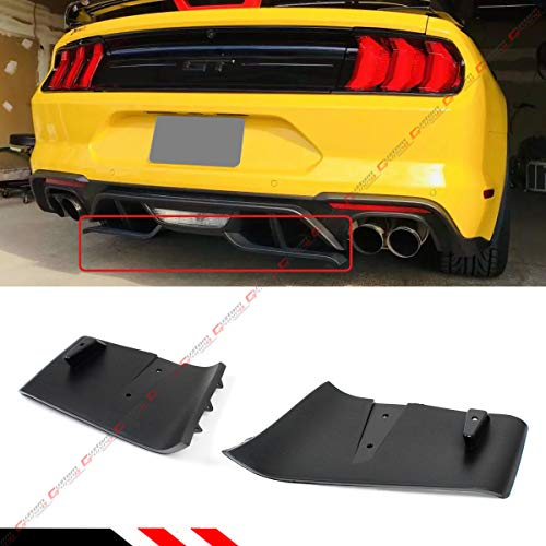 (Fits for 2018-2019 Ford Mustang GT R Style Rear Bumper Diffuser Valance Aero Foil Kit)