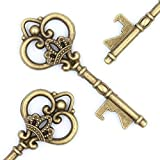 Ella Celebration Wedding Favors - Vintage Skeleton Key Bottle Openers - Queen Keys (50, Antique Gold)
