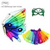 Kids Rainbow Fairy Butterfly Wings Costume with Mask Tutu Skirt Set for Girls Princess Dress up Party Favors (Rainbow)