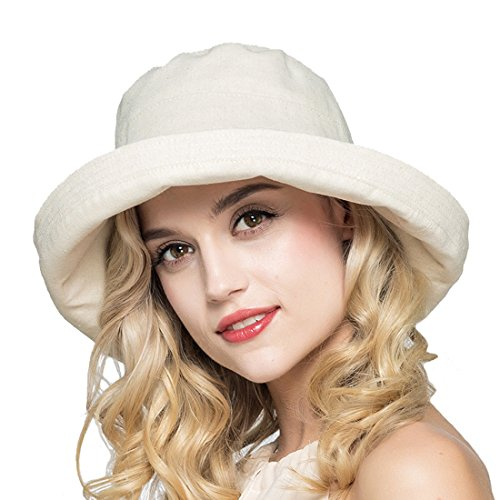 HH HOFNEN Summer Cotton Linen Packable Bucket Sun Hats For Women Fold-Up boonie Fishing Hat (Beige) (Packable Cotton)