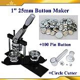 1'' 25mm Kit!! Badge Button Maker Machine+Plastic Circle Cutter+100 Pin Badge