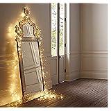 Salcar LED colorati corda leggera a 10 metri / 33 piedi 100 diodi all'interno filo di rame Micro per le feste di Natale per la decorazione di feste (bianco caldo)