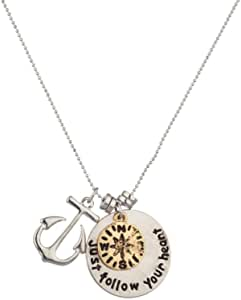 Lux Accessories Boho Nautical Anchor Compass Just Follow Your Heart Charm Pendant Chain Necklace
