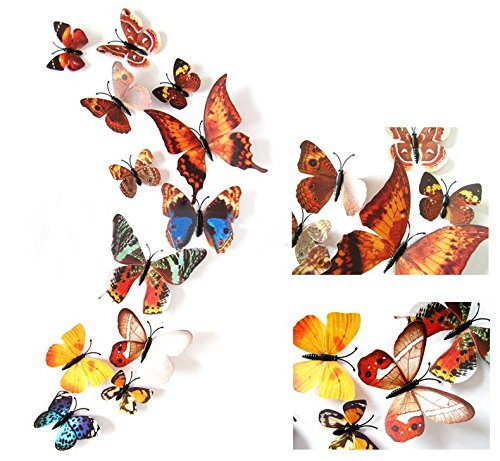 Wall Stickers - 12pcs Lot 3d Pvc Magnet Butterfly Wall Sticker Mural Door Decals Home Decoration Christmas Party - Ninja And Letters Star Picture Eyelash Violin Office Religious Baby