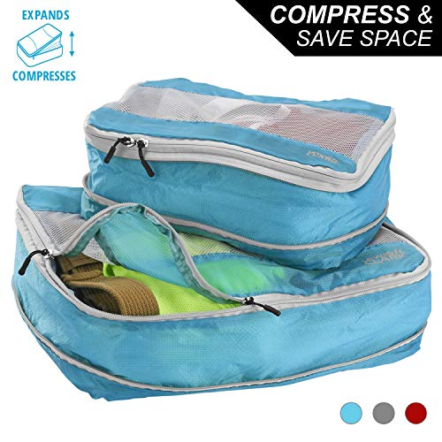 Lewis N Clark Electrolight Expandable Compression Packing Cube + Travel Organizer for Luggage, Suitcase or Carry On with Smart Design Grab Handle & Breathable Mesh, 2 Pack (1 Med, 1 Lrg), Bright Blue