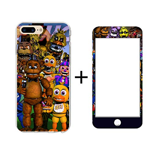 FNAF Five Nights Thin Fit Apple iPhone 7 8 Plus Case Lightweight Silicone Mobile Phone Back Cover Shell Protective with A Toughened Membrane for 5.5 Inch Phone Apple 8P 7P