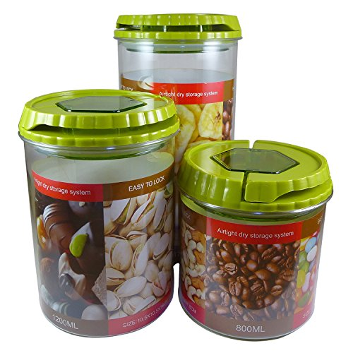 Kitchen Canisters (Set of 3, Apple Green) Decorative Food Storage Jars for (Small Kitchen Canister)