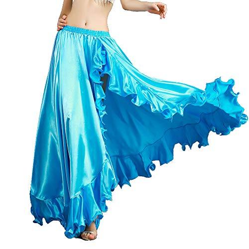 ROYAL SMEELA Belly Dance Costume for Women Belly Dancing Skirts Slit Ruffle Maxi Skirt Dance Dress Bellydance Dancer Outfit Light Blue