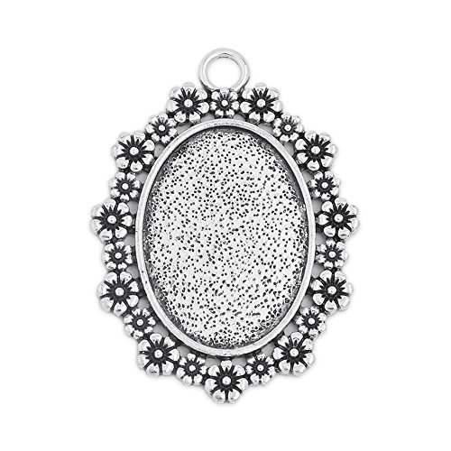 18x25mm Oval Floral Edge Pendant Tray Blank Base Cameo Cabochon Base Setting Pack of 20 (Antique - Floral Setting