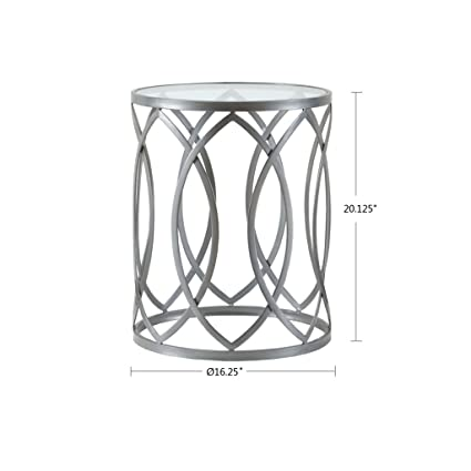 Madison Park FPF17-0295 Arlo Accent Glass Top Hollow Round Small, Metal  Side Geometric Pattern, Modern Style End Tables for Living Room, Silver