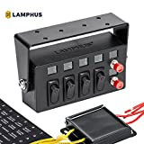 rocker switch panel box - LAMPHUS SWBX42 LED Backlit Switch Box [4x 25A ON/OFF Rocker Switches] [2x Momentary Switches] [Adjustable Swivel Bracket] - Perfect for Police, Firefighter, or Construction Vehicles