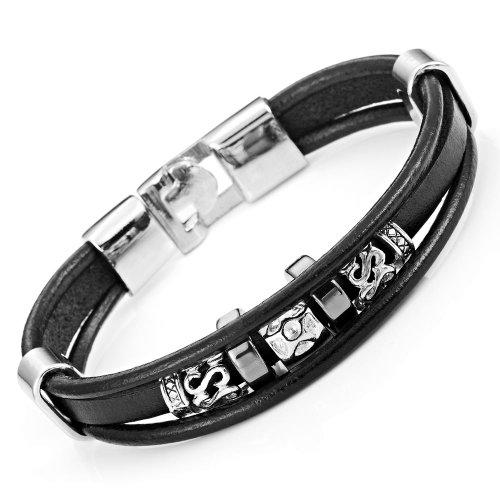Stylish Genuine Leather Bracelet Stainless