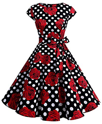 Womens Vintage 1950s Cap Sleeve Swing Dress Floral Print a-Line Party Cocktail Dress Dr04 (blk Rose, XL)