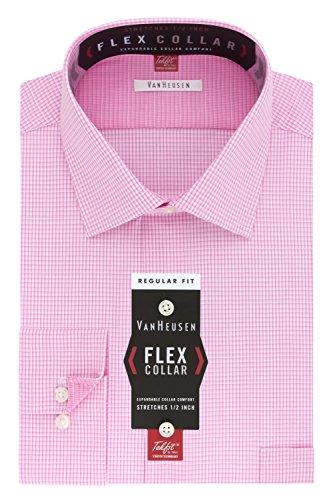 Van Heusen Men's Flex Collar Regular Fit Mini Check Spread Collar Dress Shirt, Pink/Multi, 16.5