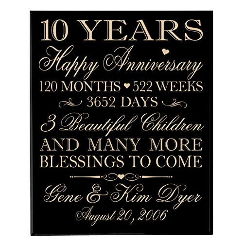 Personalized 10 year Anniversary Gifts for Couple, Happy 10th wedding gift ideas for him and her Family Established Dates to remember Wall Plaque By Dayspring Milestones (Black Solid Maple Wood)
