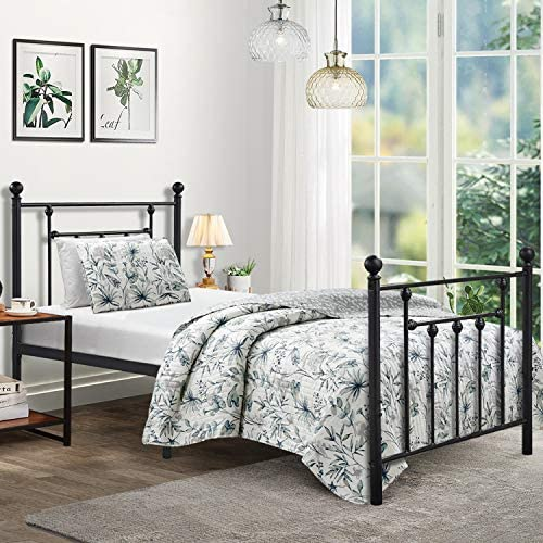 Elegant Home Products Victorian Vintage Style Platform Metal Bed Frame Foundation Headboard Footboard Heavy Duty Steel Slabs Queen Full Twin Gray Sliver Finish Twin