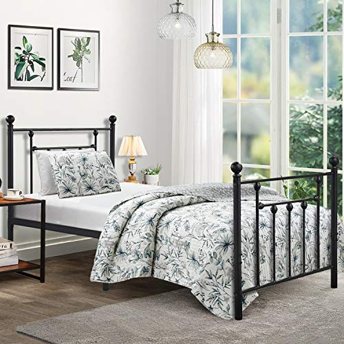 - Twin Size Bed Frame, VECELO Metal Platform Mattress Foundation / Box Spring Replacement with Headboard Victorian Style