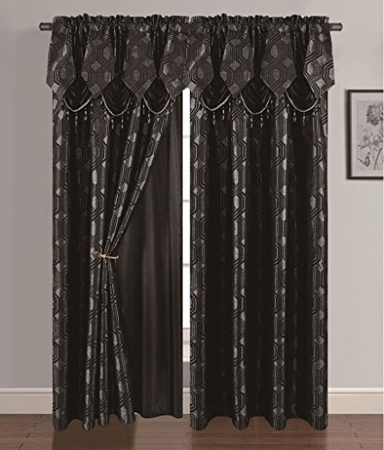 (Golden Linen Luxury Curtain/Window Panel Set Ragad Collection 2pc Curtain Set with Attached Valance and Backing 55