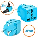 Yubi Power 2 in 1 Universal Travel Adapter with 2 Universal Outlets - Built in Surge Protector - 2 Pack - Light Blue - Shucko Type E / F for France, Germany, Spain, Sweden, Turkey, Ukraine and More!