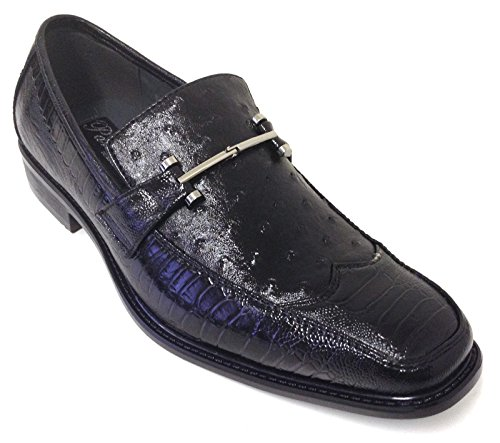 Alberto Fellini Pazzini Men's Dress Shoes Fashion Casual Loafers Slip on Italian Style Ostrich Lizard Snake Print (10.5 D(M) US, Black)