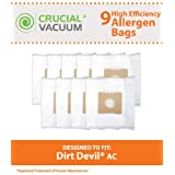 9 Dirt Devil AC Bags, Fits Dirt Devil Turbo Canister Vacuums, Compare to Part # 304325001, Designed & Engineered by Crucial Vacuum