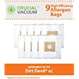 9 Highly Durable Dirt Devil Type AC Vacuum Bags; Fits Turbo Canister and Royal Vacuums; Compare to Dirt Devil Part No. 304325001; Designed & Engineered by Think Crucial
