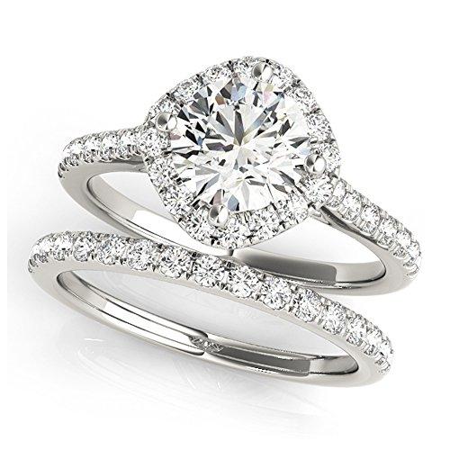 14K White Gold Unique Wedding Diamond Bridal Set Style MT50982