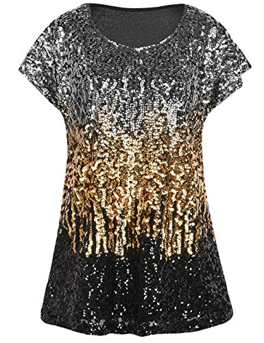 (PrettyGuide Women's Sparkly Shirt Glitter Sequined Dolman Loose Tunic Blouse Top Silver/Gold/Black L/US14-16)