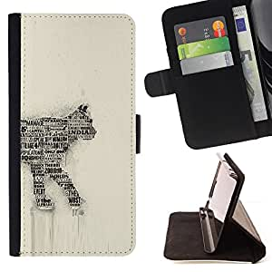 DEVIL CASE - FOR Apple Iphone 6 - Cat Newspaper Art Number 35 India Feline - Style PU Leather Case Wallet Flip Stand Flap Closure Cover