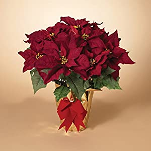 20 Inch Potted Burgundy Red Poinsettia Plant – Artificial Christmas Poinsettia Plant in Gold Foil Wrap