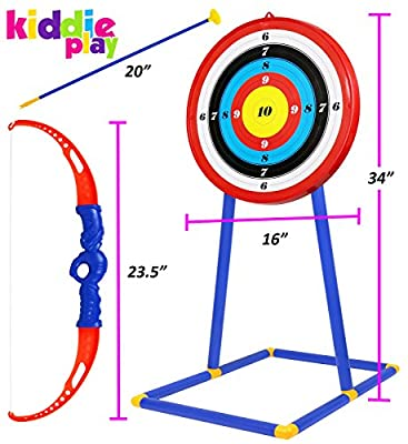 Kiddie Play Toy Archery Set for Kids with Target and Bow and Arrow