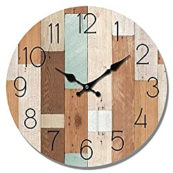 Wall Clock Multi Color Wood Planks Look 13 Round