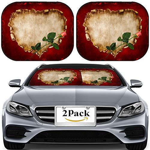 MSD Car Sun Shade for Windshield Universal Fit 2 Pack Sunshade, Block Sun Glare, UV and Heat, Protect Car Interior, Heart Shaped Vintage Piece of Parchment with a red Rose on it Valentines Day