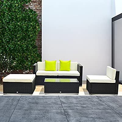 Outsunny-5PC-Rattan-Furniture-Set-Garden-Sectional-Wicker-Sofa-Glass-Tepmpered-Tea-Table-wCushion-Pillows