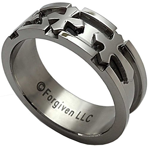RAB5 Forgiven Jewelry-3-D Triple Cross Wide Band Stainless Steel Ring size 10-Christian Jewelry