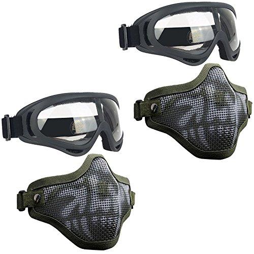 Airsoft Masks- Adjustable Half Metal Steel Mesh Face Mask An